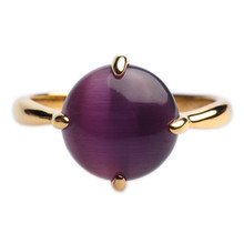 Mnemosyne Voila Purple Gemstone 14k Gold Plated 925 Sterling Silver Cats Eye Stone Engagement Anniversary Ring