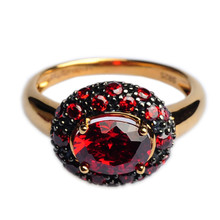 Mnemosyne Martina Ruby 14k Gold Plated 925 Sterling Silver Fine Jewelry Engagement Victorian Gold Ruby Ring