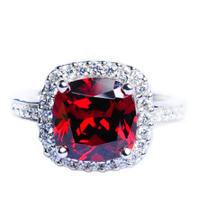 Mnemosyne Chrissie Large Ruby 14k White Gold Plated 925 Sterling Silver Bridal Wedding Band Unique Engagement Promise Fine Jewelry Ring