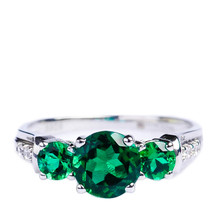 Mnemosyne Margot 14k White Gold Plated 925 Sterling Silver Emerald Bridal Unique Emerald Engagement Emerald Gold Ring Christmas Gift