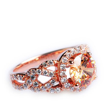 Mnemosyne Rosa Champagne Stone 14k Rose Gold Plated 925 Sterling Silver Bridal Rose Gold Wedding Band Unique Engagement Fine Jewelry Ring