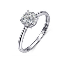 GOLD PROMISE RING, GROUP SET DIAMOND RING IN 18K WHITE GOLD, 0.20 CT DIAMOND COMMITMENT RING