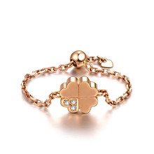 18K Rose Gold chain ring, Clover diamond ring, Customize Ring