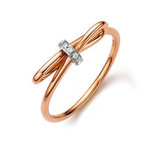 18 K Rose Gold diamond bow twist Ring, Thin diamond ring band