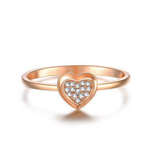18K Rose Gold heart diamond ring for gift customize