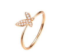 18 K ROSE GOLD DIAMOND Butterfly ENGAGEMENT RING, THIN DIAMOND RING BAND