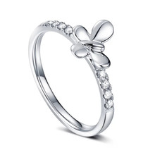 18 K White GOLD DIAMOND BUTTERFLY ENGAGEMENT RING, THIN DIAMOND RING BAND