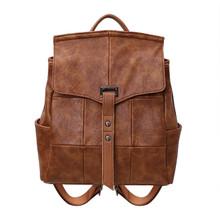 Leather classic vintage  women casual backpack shoulder hobo bag