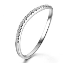 STACKABLE DIAMOND WEDDING CLAW SET BAND HALF AROUND RING IN 18K GOLD CUSTOMIZE