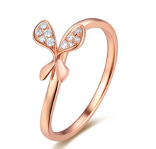 18 K ROSE GOLD DIAMOND BUTTERFLY ENGAGEMENT RING,  WEDDING DIAMOND RING