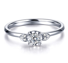 18kt Gold Engagement Diamond Ring, Heart Wedding Ring,