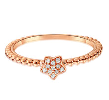 18K Rose Gold Fashion Star Wedding Diamond Ring for Gift Customize