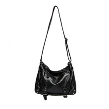 Waterproof Leather vintage  women  casual hobo crossbody bag