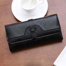 Waterproof Leather women girl folded long wallet purse card holder