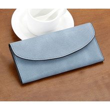 Waterproof satin soft Leather women girl folded long wallet purse card holder