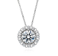 18KT Gold Halo set Round cut diamond pendant necklace custom