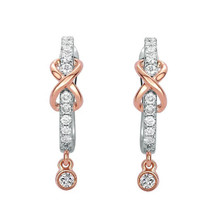 18K Gold Drop Bridal Earrings, Diamond Earrings Wedding Anniversary Gift