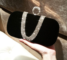 Women velvet party shiny clutch evening bag