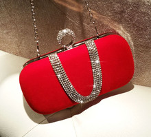 WOMEN VELVET PARTY SHINY CLUTCH EVENING BAG RED