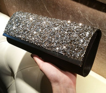 ARETHA SILK LADY SHINNING CLUTCH EVENING PARTY BAG PURSE Black