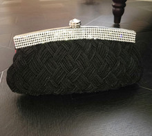 ARETHA SILK LADY Braid CLUTCH EVENING PARTY BAG PURSE Black