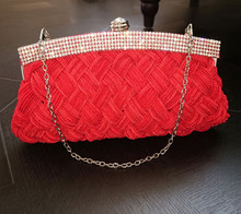 ARETHA SILK LADY Braid CLUTCH EVENING PARTY BAG PURSE Red