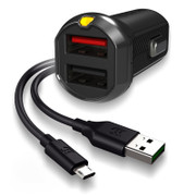 EFM Car Chgr 3.4A Dual USB Rapid Charge W/Reverse Micro USB Cable - Black