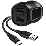 EFM Wall Charger 3.4A Dual USB Rapid Charger W/Reverse Type C Cable - Black