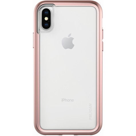 differently 7e188 1f94c Pelican ADVENTURER Case iPhone X - Clear/Metallic Rose Gold