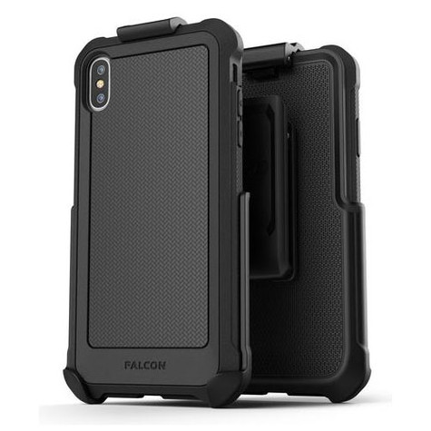 Encased Falcon Case and Tempered Glass Screen Guard iPhone Xs Max with Belt Clip Holster - Black