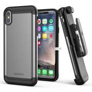Encased Scorpio Case iPhone X/Xs with Belt Clip Holster - Grey