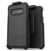 Encased Rebel Case Samsung Galaxy S10 with Belt Clip Holster - Black