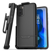 Encased Rebel Case Samsung Galaxy S20 with Belt Clip Holster - Black
