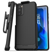 Encased Thin Armor Case Samsung Galaxy S20 with Belt Clip Holster - Black