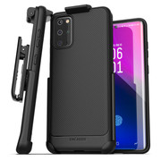 Encased Thin Armor Case Samsung Galaxy S20+ Plus with Belt Clip Holster - Black