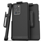 Encased Thin Armor Case Samsung Galaxy S20 Ultra with Belt Clip Holster - Black