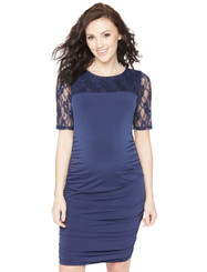 Motherhood Lace Sleeve Side Ruched Maternity Dress