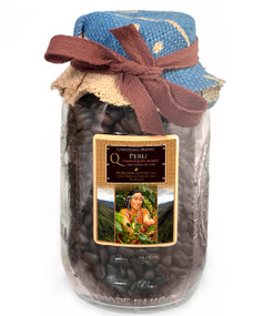 Peru Arabica Glass Pack Coffee ##for 8oz, fresh-packed in sturdy glass jar; 12 oz also available##