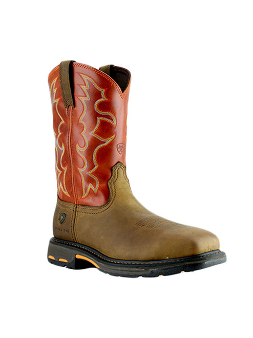 Red Ariat Men's Workhog Square Steel Toe Boot - 10006961 (Right Angle)