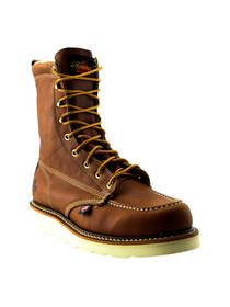 "Thorogood Men's 8"" Moc Toe Slip Resistant Tobacco Oil-Tanned Leather Soft Toe Boot - 814-4201 (front angle)"
