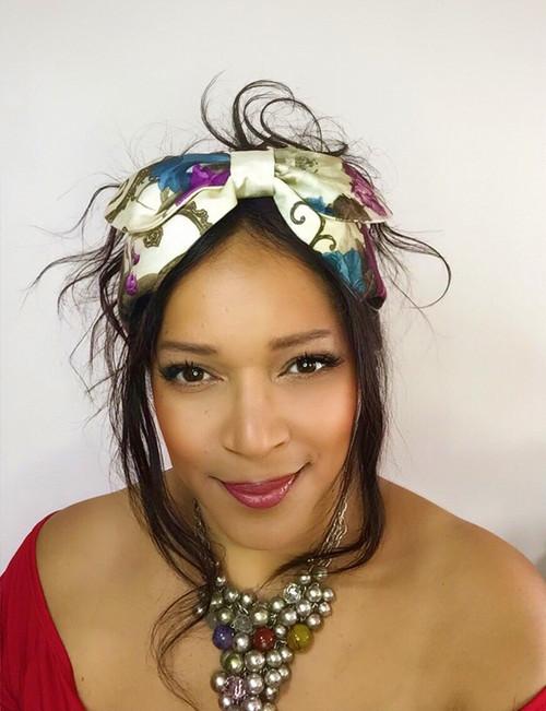 Headband Blue & Pink (Floral) Velvet - 001, Direct from the designer Peak & Brim Hats