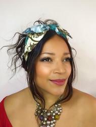 Headband Blue (Floral) Velvet - (003), Direct from the designer Peak & Brim Hats