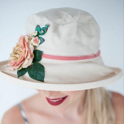Summer Rose (MB) Cotton - Vintage Peachy Pink Flower, Direct from the designer, Peak and Brim Designer Hats