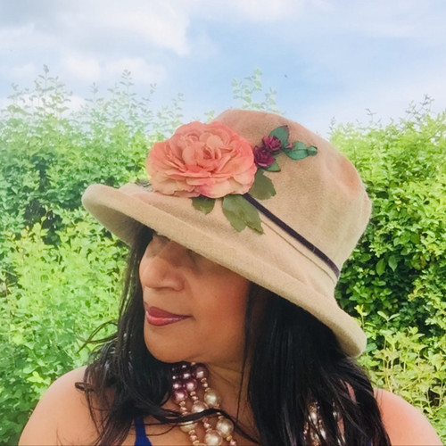 Summer Rose (MB) Linen - Peachy Pink Flower, Direct from the designer, Peak and Brim Designer Hats