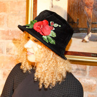 Peak and Brim Designer Hats - Autumn Leaves Small Brim in Black - direct from the designer