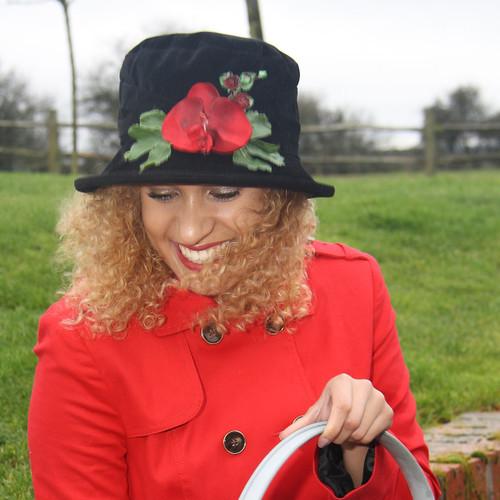 Peak and Brim Designer Hats - Autumn Leaves Small Brim in Black - direct from the designer
