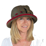 Peak and Brim Designer Hats - Alexia Medium Brim in Blood Red - direct from the designer