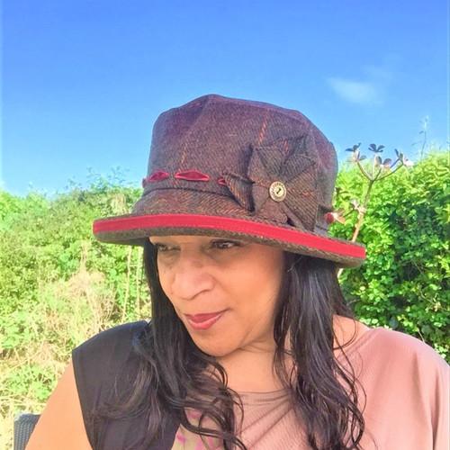 Peak and Brim Designer Hats - Alexia Medium Brim in Blood Red - direct from the designer