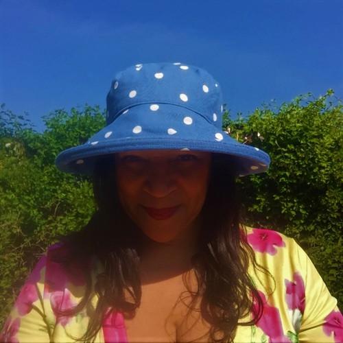 CBFA Large Brim in Dotty Denim - Direct from the designer, Peak and Brim Designer Hats
