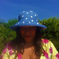 CBFA Large Brim in Dotty Denim - Direct from the designer, Peak and Brim Designer Hats